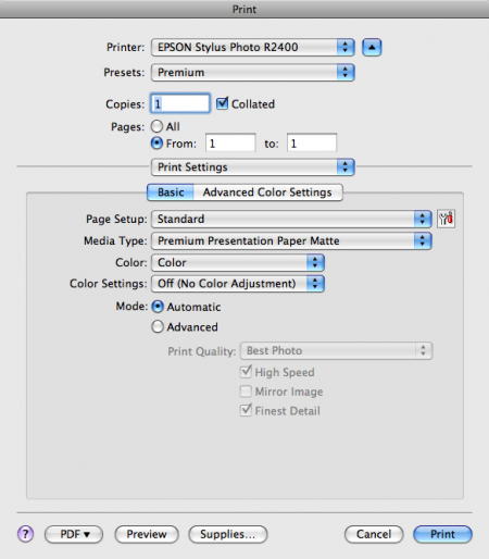 Printer Driver Settings (Color Management OFF)